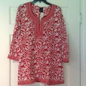 Bella Tunic Patterned Blouse, Red and White